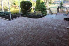 Cross Hatch Paver Pattern Makes this Porch Floor Stand Out Bluestone Pavers, Brick Pavers, Landscape Materials, Landscape Design, Allison Park, Paver Patterns, Sandstone Wall, Natural Stone Veneer, Green Initiatives