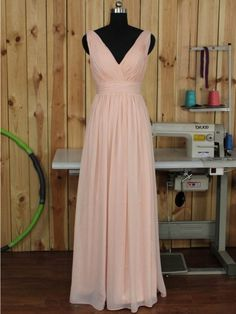 V-neck Chiffon Floor-length Ruched Pink Backless Bridesmaid Dress - dressesofgirl.com