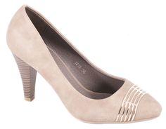 Pantofi cu toc - Pantofi bej cu toc 1015B - Zibra