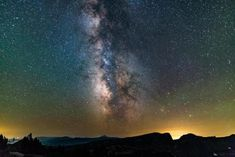 The sky at the very top of Crater Lake  are so dark the airglow...