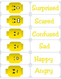 Free Printable Flashcards - Emotion Flash Cards - Lego Emotional Regulation - what boy does not love legos? Teaching Emotions, Social Emotional Learning, Feelings And Emotions, Social Skills, Counseling Activities, Therapy Activities, Learning Activities, Kids Learning, Lego Therapy