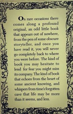 """... an odd little book ... and once you have read it, you will never go completely back to where you were before ..."""
