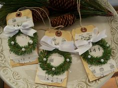 Winter white Wreath Tags. {note to self: Make these as Christmas cards}