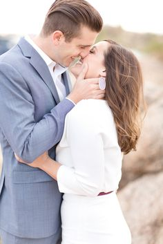 Beautiful desert engagement session with white sleeved dress and soft blue suit. Casual Engagement Outfit, Engagement Photo Outfits, Engagement Photo Inspiration, Engagement Couple, Engagement Pictures, Engagement Session, Engagements, Married Couple Photos, Wedding Couple Pictures