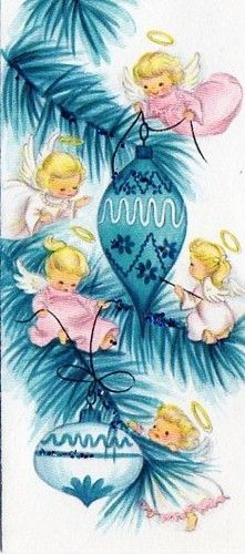 Vintage Angel Christmas Card - An Angel for each of my 5 Angels!!! :*