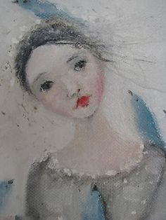 How precious! FadedWest, On eBay, Karen Milstein, Artist. Just wonderful! Shabby Chic Painting, Spirited Art, Watercolour Tutorials, Bedroom Art, Whimsical Art, Illustrations, Portrait Art, Medium Art, Face Art