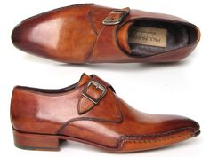 Paul Parkman Men's Monkstrap Shoes Side Handsewn Twisted Leather Sole Tobacco (ID
