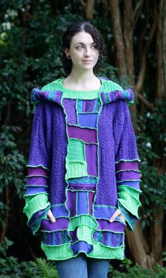 custom made to order Recycled Sweater Coat Hoodie. Guy .Unisex upcycled fairy…                                                                                                                                                     More