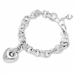 Amoro Polished 925 Sterling Silver Rolo Heart Charm bracelet 75 ** Continue to the product at the image link.