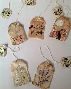 Teabag art by Kate Jacobs . Tea Bag Art, Tea Art, Kunstjournal Inspiration, Art Journal Inspiration, Tee Kunst, Arts And Crafts, Paper Crafts, Nature Artwork, Ideias Diy