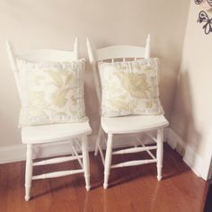 A personal favorite from my Etsy shop https://www.etsy.com/listing/240964250/two-white-chairs-kitchen-chairs-dining