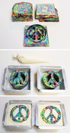 DIY Peace Cake of The decorated part has many colored batters, layered and baked. Uses cookie cutters to cut baked cake. Fill with white cake batter, and bake again. Great idea, can be used with other cutters, as a baby sex reveal. Peace Cake, Bolo Diy, Tie Dye Cakes, Hippie Party, Cake Tutorial, Cute Cakes, Creative Cakes, Cakes And More, Cupcake Cookies