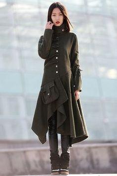 winter jacket wool women Army Green coat C183 von YL1dress auf Etsy