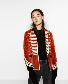 Image 2 of VELVET MILITARY JACKET from Zara Alice loves an iconic red vintage military London look and this jacket fits the bill to bring you fashion luck in 2017