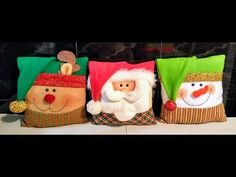 ♥♥ DIY TRIO COJINES NAVIDEÑOS♥♥ - YouTube Christmas Chair Covers, Christmas Cushions, Christmas Crafts, Christmas Decorations, Christmas Ornaments, Display Boxes, Xmas Gifts, Vinyl Figures, Funko Pop Vinyl