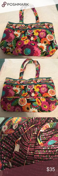 Vera Bradley va va bloom east west tote Great condition Vera Bradley tote bag.  Pattern: va va bloom  Style: east west tote This bag is in great condition. Was hardly used. Has 3 slip pockets inside. Big enough to fit a tablet (or small laptop), wallet, makeup, books, and anything else you may need. I also have this style available in another color in my closet. Vera Bradley Bags Totes