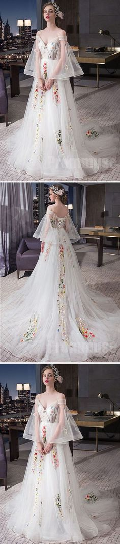 Charming Unique Off the Shoulder Long Sleeves Lace Up Long Prom Dresses, PM0793 #promdress #promdresses