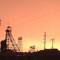 Our hometown in all it's glory - Butte, MT (Butte, Mining City, Gallus Frame, copper sky)