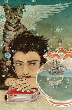 Illustration by Japanese illustrator Yuko Shimizu Art And Illustration, Yuko Shimizu, School Of Visual Arts, Merian, Photo D Art, Japanese Art, Cat Art, Fantasy Art, Book Art