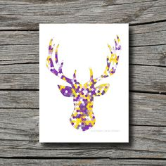Deer antler geometric decor radiant orchid by SouthernCrossStudio
