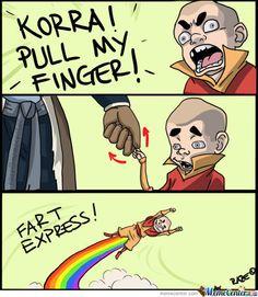 The Legend of Korra: haha rainbow fart bending!