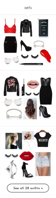 """""""sets"""" by k-eaze ❤ liked on Polyvore featuring Sandro, T By Alexander Wang, IRO, Nly Shoes, Killstar, Victoria Beckham, Burberry, NARS Cosmetics, High Heels Suicide and Mason by Michelle Mason"""