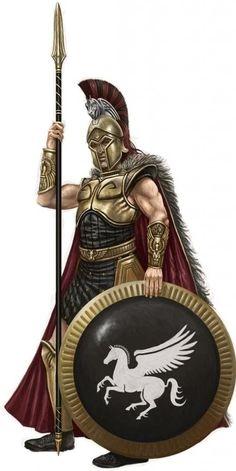 m Fighter Temple Guard Hvy Armor Shield Helm Cloak Lance Sword urban City Hoplite Age of Heroes Obsidian Portal lg Fantasy Armor, Medieval Fantasy, Greek History, Ancient History, Gods Of War, Greek Soldier, Ancient Armor, Spartan Warrior, Greek Warrior