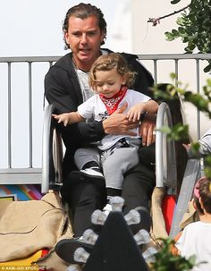Devoted dad: Gavin Rossdale enjoyed time with his three sons while at an Easter egg hunt in Los Angeles on Sunday; pictured with his youngest, two-year-old Apollo Celebrity Baby Showers, Celebrity Baby Names, Celebrity Babies, Gavin Rossdale, Kids Choice Award, Baby Boom, Two Year Olds, Gwen Stefani, Egg Hunt