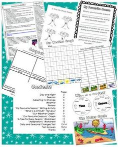 Daily and Seasonal Changes - A Science Unit with Lesson Ideas $