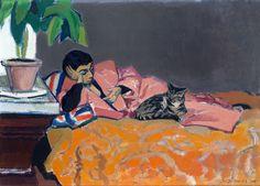 huariqueje:Liggende vrouw op sofa (Woman lying on sofa) - Bob BuysDutch painter 1912-1970