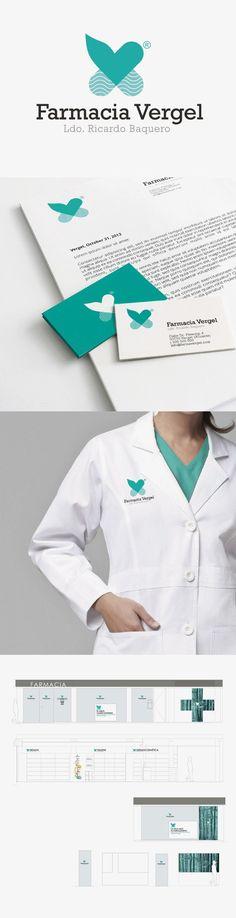 Desarrollo de la imagen corporativa de la Farmacia Vergel: logotipo, aplicaciones gráficas del mismo, incluyendo ropa de trabajo y papelería, así como aplicación de la nueva imagen a la fachada e interiores de la farmacia.