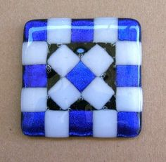 White and Cobalt Blue Dichroic Glass Cabinet by UneekGlassFusions, $31.00