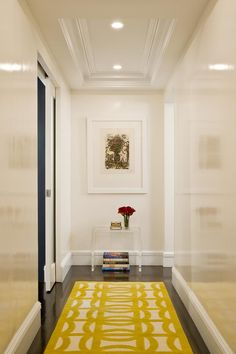 "6. Narrow hallway = high gloss walls & a ""warm"" colour rug with a pattern…"