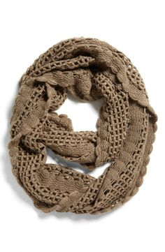 Weekend favorite - a crocheted infinity scarf with jeans and a sweater