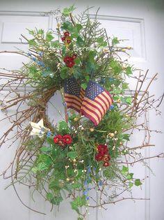 Country Summer Americana, Patriotic Door wreath. Happy 4th!