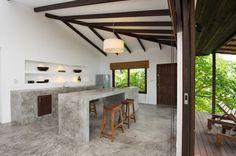 Casas del Sol villas, located on Koh Tao Island, boast a contemporary tropical interior design. There are five different villas to choose from but they Interior Tropical, Modern Tropical, Tropical Design, Concrete Kitchen, Concrete Floors, Kitchen Flooring, Concrete Houses, Australian Interior Design, Contemporary Interior Design