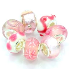 "$14.99 You will receive 5 European, Pandora style slide on Beads Handmade as shown in picture. These will fit all the popular styles of ""Add a Bead"" Fits Pandora, Chamilia,Troll, Biagi Bracelets. If you have any questions about bracelet comparability, or any other questions,Feel free to send me a message I will answer as promptly as possible."