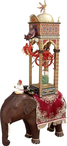 This is an elephant clock. It is an elaborate design by Al-Jazari that is over 800 years old! The clock is a living sculpture of culture diffusion including aspects from Egyptian, Greek, Arabic, and many others. MLittle