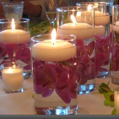 Floating candles - cool idea for Valentines dinner