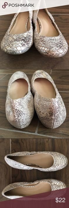 Jessica Simpson Snakeskin Flats Gently used silver snakeskin Jessica Simpson flats. Jessica Simpson Shoes Flats & Loafers