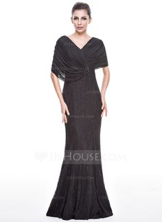 Trumpet/Mermaid V-neck Floor-Length Beading Sequins Zipper Up Cap Straps Short Sleeves No Black Winter Spring Fall General Plus Lace Evening Dress