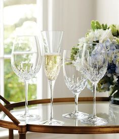 Waterford Lismore, Waterford Crystal, Crystal Stemware, Wedding Toasts, Irish Art, Glass Collection, Furniture Makeover, Flute, Wine Glass