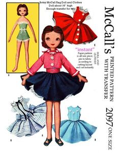 Mccalls 2097, betsy mccalls rag doll and clothes, she is 16 inches high. this is a reproduced pattern.