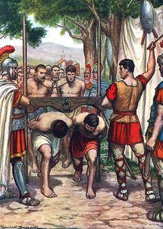 Under the Roman Yoke , Tancredi Scarpelli Ancient Rome, Ancient Greece, Ancient Art, Ancient History, Roman Drawings, Fall Of Constantinople, Greek Soldier, Rome Antique, Roman Legion