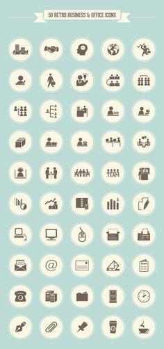 Retro Business Office Icon Set