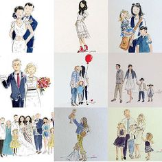 Custom family watercolor portraits by Jennifer Vallez.