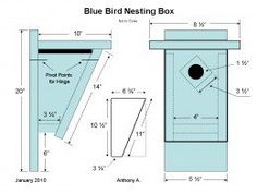 Bluebird Nest Box Plans: How To Build A Peterson Bluebird House ~ Slant Front Style
