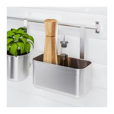 KUNGSFORS Container IKEA (rectangle bucket stainless steel) Helps free up space on your countertop while keeping craft tools / cooking utensils close at hand. Can be hung on KUNGSFORS rail. Kitchen Worktop, Kitchen Countertops, Kitchen Wall Storage, Kitchen Countertop Organization, Ikea Kitchen, Utensil Storage, Desk Storage, Recycling Facility, Cleaning