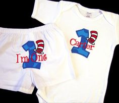 Dr. Seuss 1st Birthday Outfit   Items similar to First Birthday Boy Set, Cat in the Hat, Dr. Seuss ...