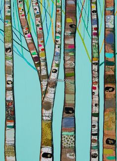 Tall Birch Trees in Gloss Aqua with Bright Branches